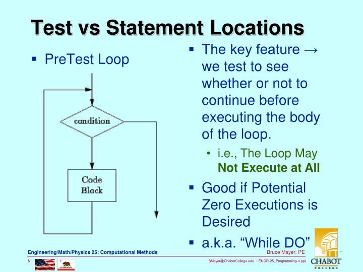 PreTest Loop