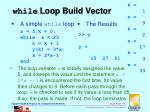 while loop build vector