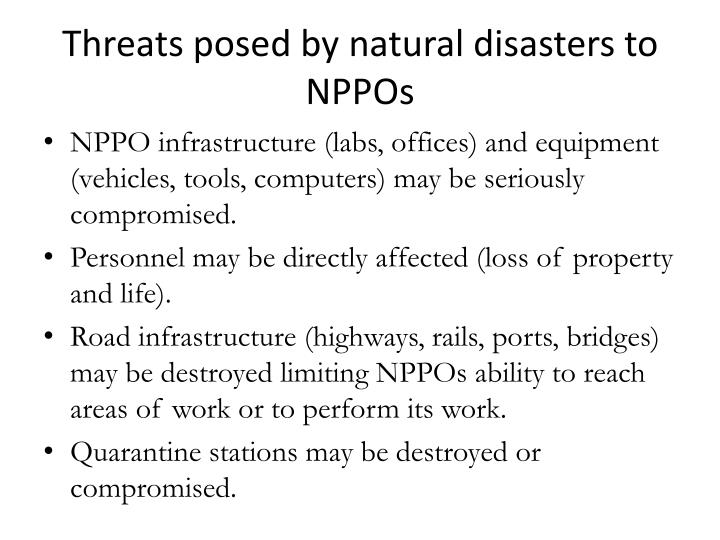 Threats posed by natural disasters to NPPOs