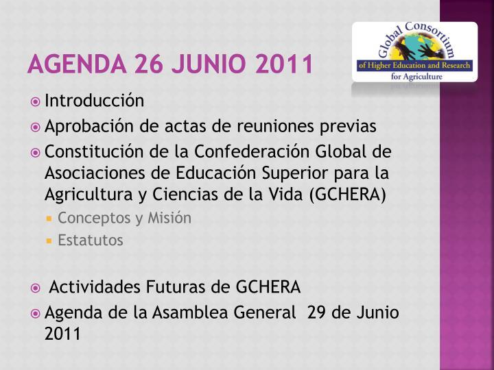 Agenda 26 Junio 2011