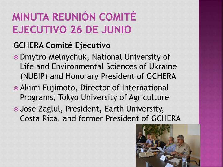 Minuta reunión comité Ejecutivo 26 de Junio
