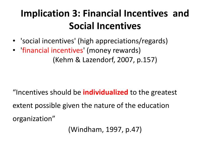 Implication 3: Financial Incentives  and Social Incentives