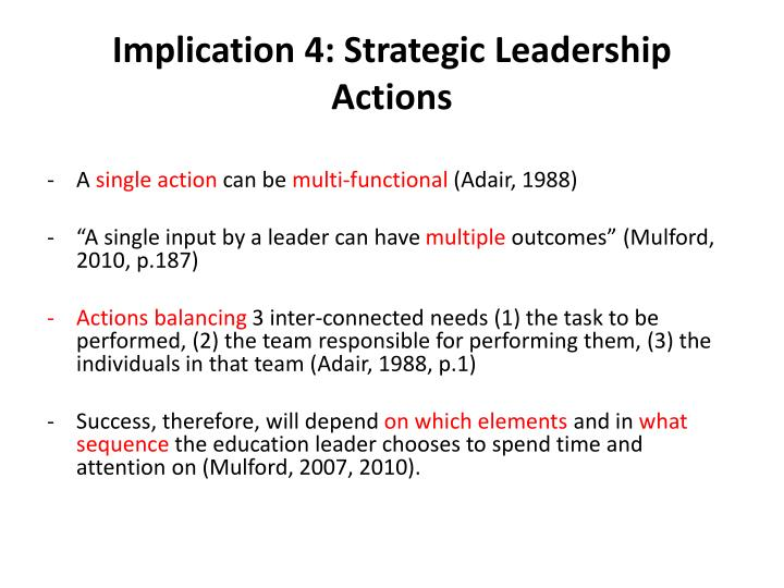 Implication 4: Strategic Leadership Actions