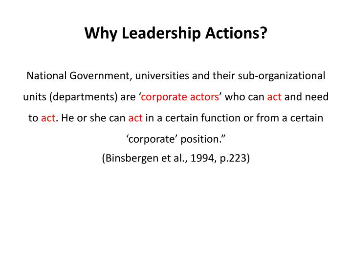 Why leadership actions