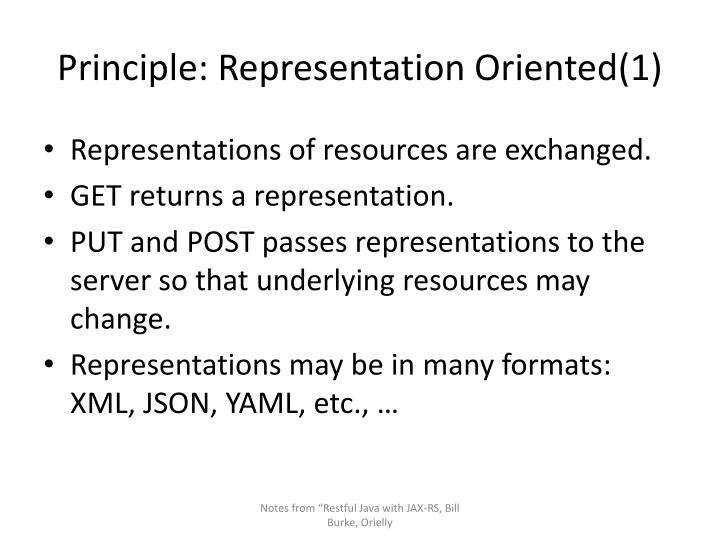 Principle: Representation Oriented(1)