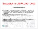 evaluation in unipa 2001 20091