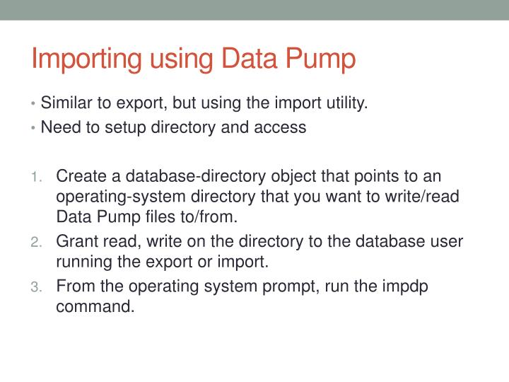 Importing using Data Pump