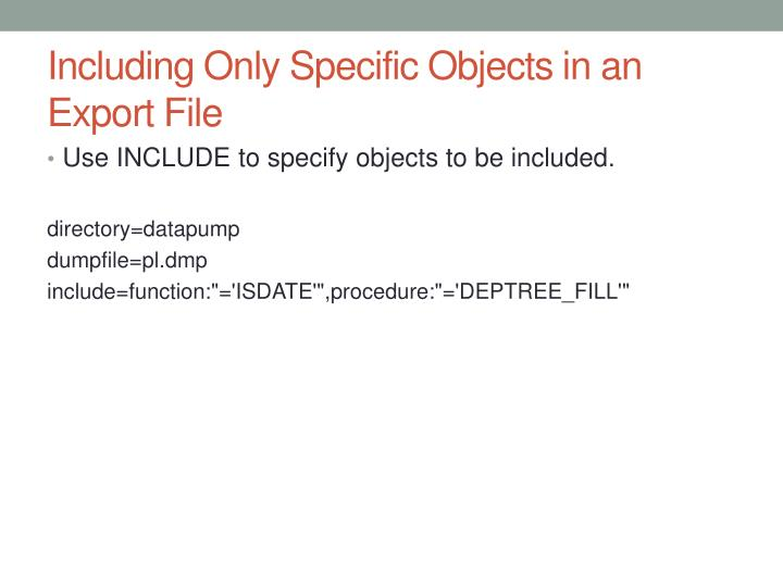 Including Only Specific Objects in an Export
