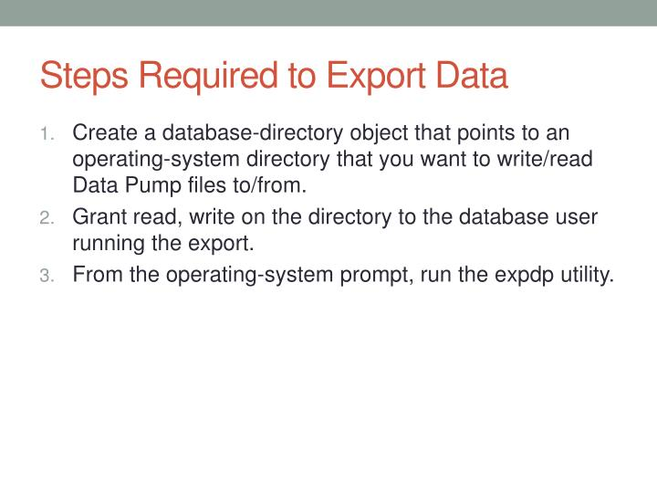 Steps Required to Export Data