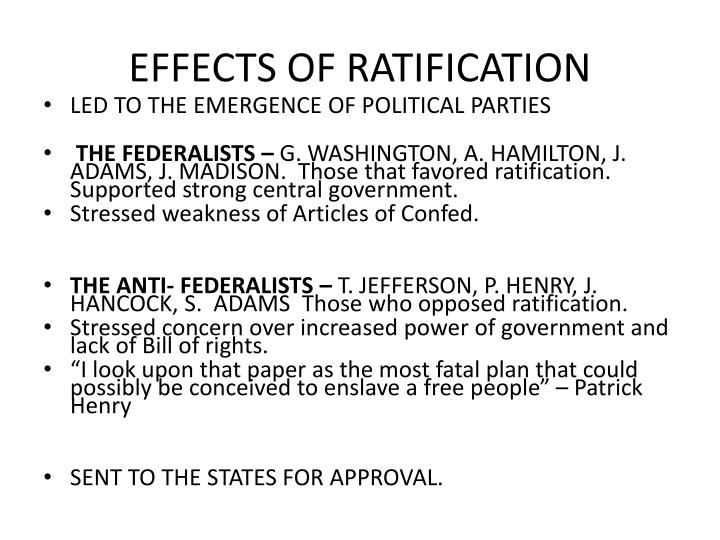 EFFECTS OF RATIFICATION