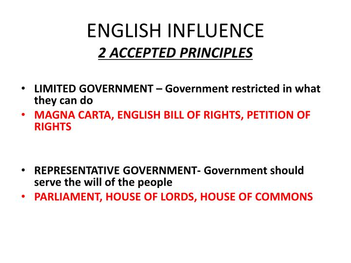 ENGLISH INFLUENCE