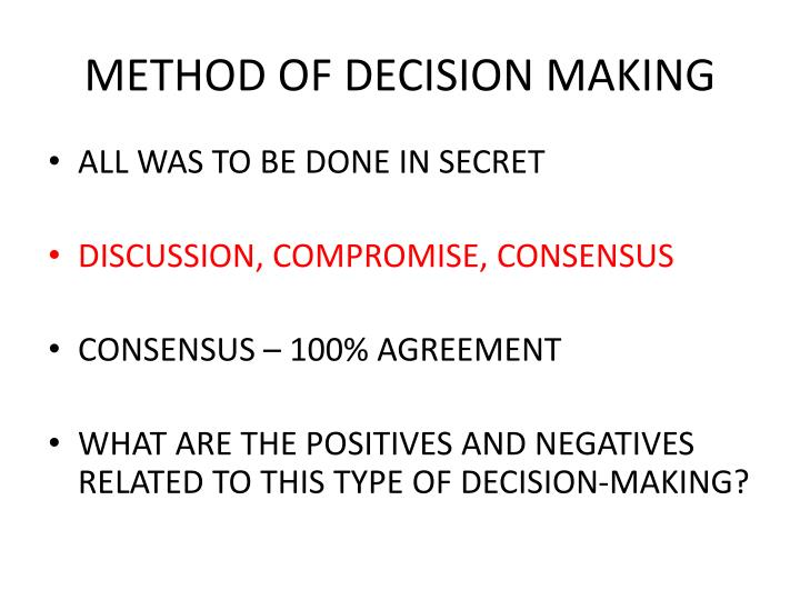 METHOD OF DECISION MAKING