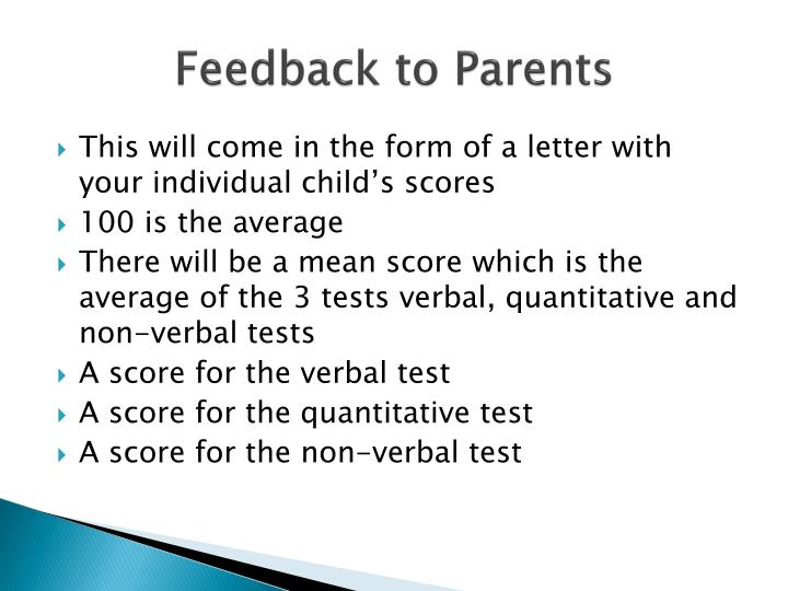 Feedback to Parents