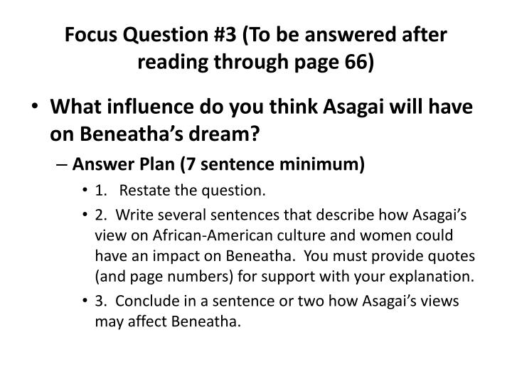 Focus Question #3 (To be answered after reading through page 66)