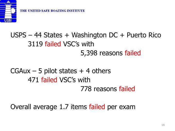 USPS – 44 States + Washington DC + Puerto Rico