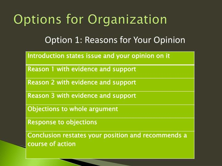 Options for Organization