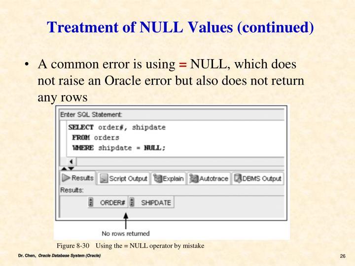 Treatment of NULL Values (continued)