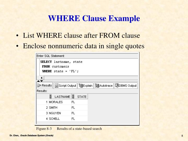 WHERE Clause Example