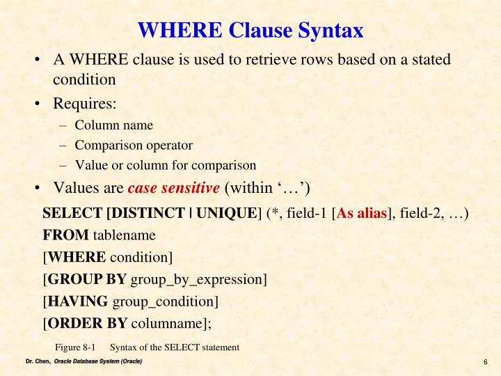 WHERE Clause Syntax