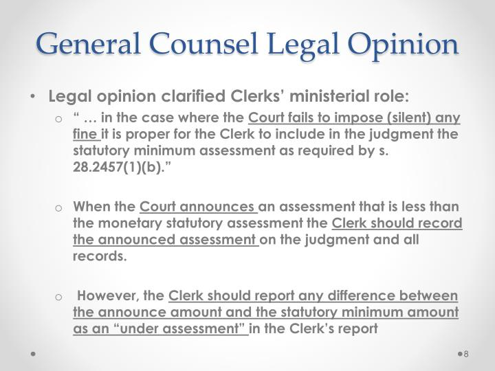 General Counsel Legal Opinion
