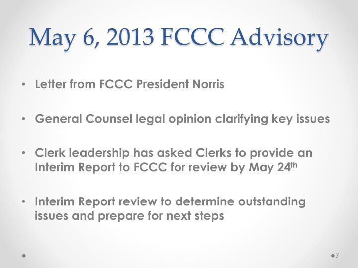 May 6, 2013 FCCC Advisory