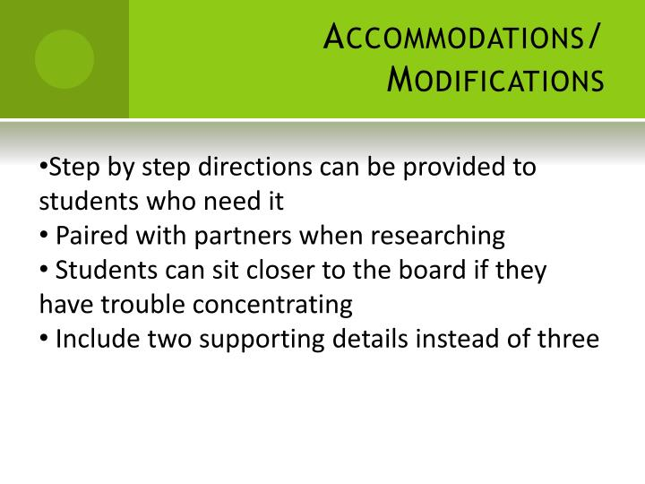 Accommodations/