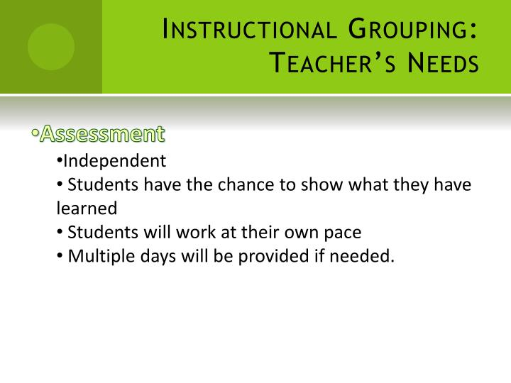 Instructional Grouping: