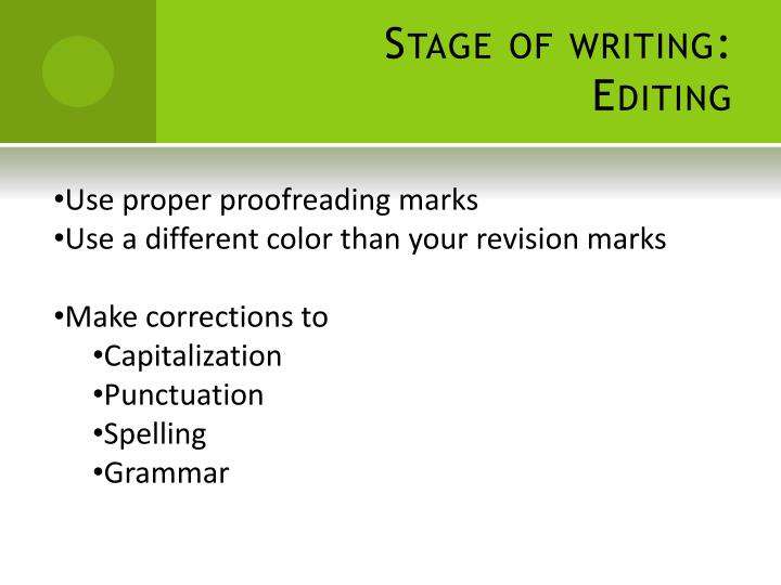 Stage of writing:  Editing