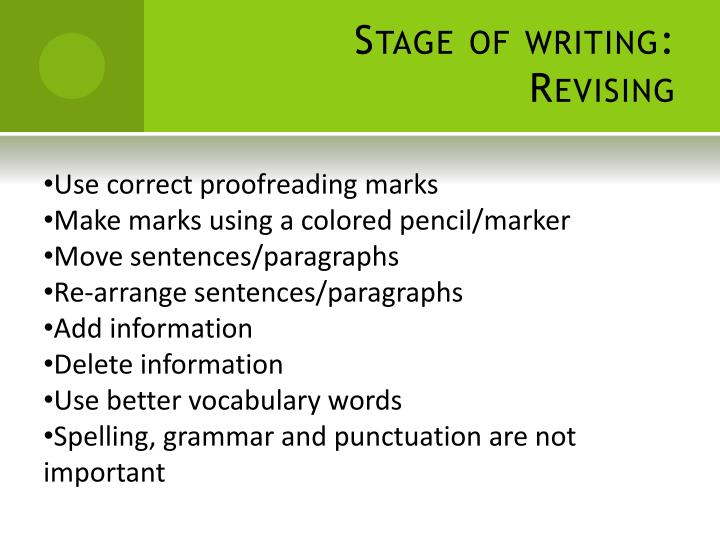 Stage of writing: Revising
