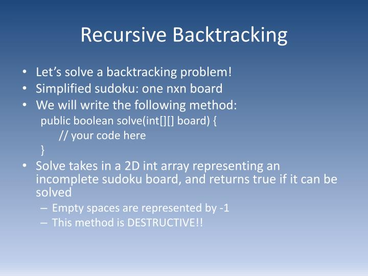 Recursive Backtracking