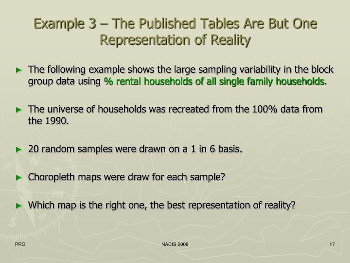 Example 3 – The Published Tables Are But One Representation of Reality