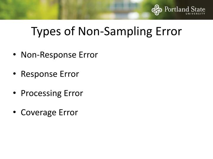 Types of Non-Sampling Error