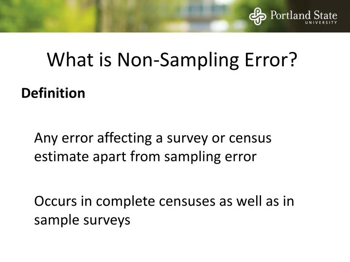 What is Non-Sampling Error?