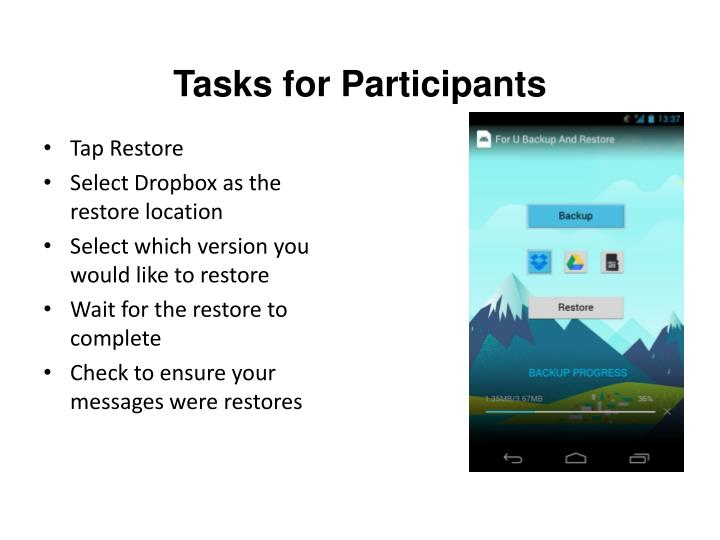 Tasks for Participants