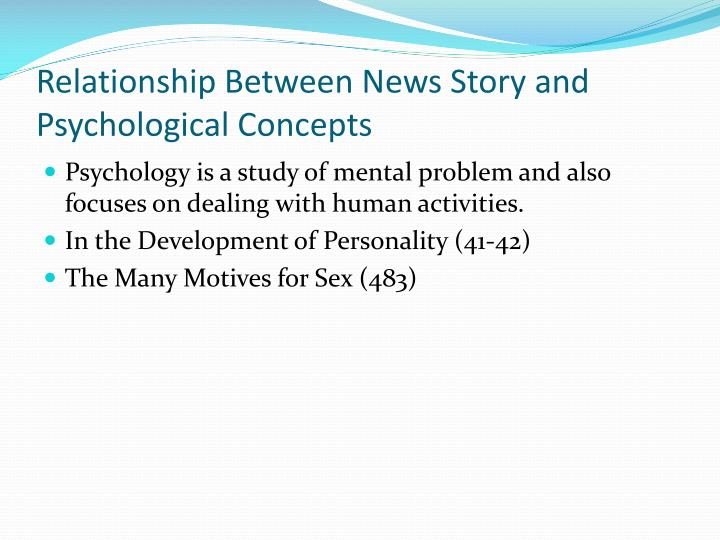 Relationship Between News Story and Psychological Concepts
