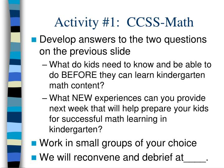 Activity #1:  CCSS-Math