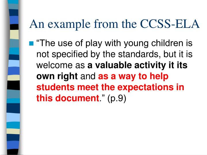An example from the CCSS-ELA