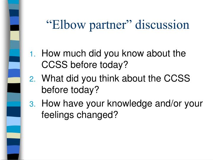 """Elbow partner"" discussion"