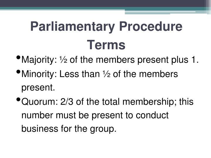 Parliamentary Procedure Terms