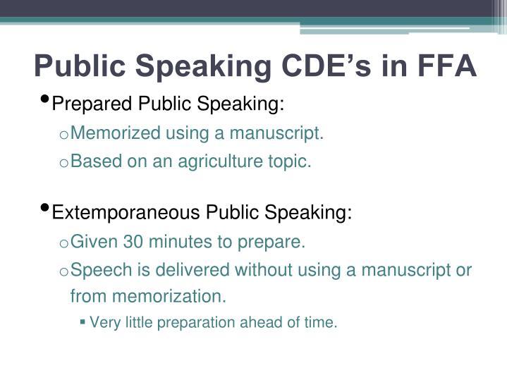 Public Speaking CDE's in FFA
