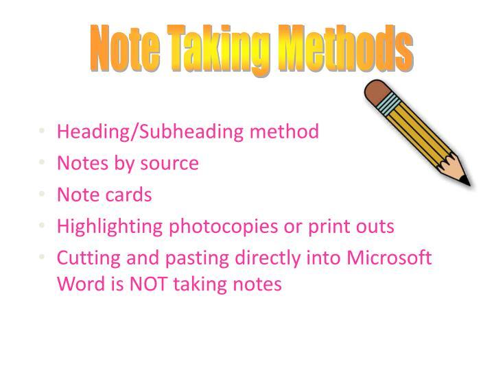 Heading/Subheading method