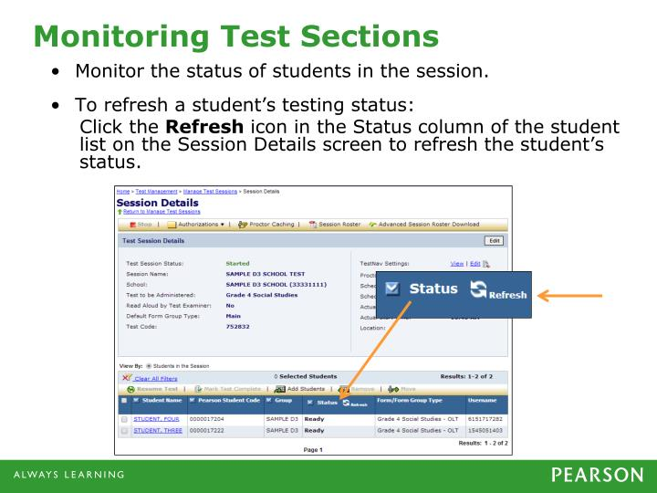 Monitoring Test Sections