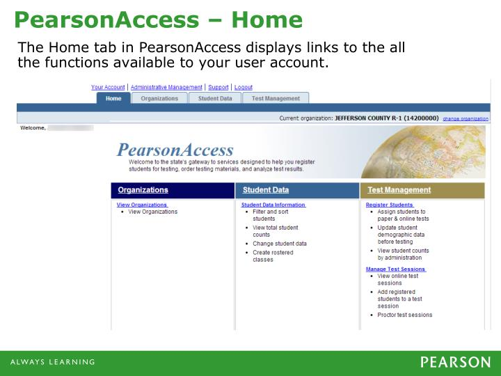 PearsonAccess – Home