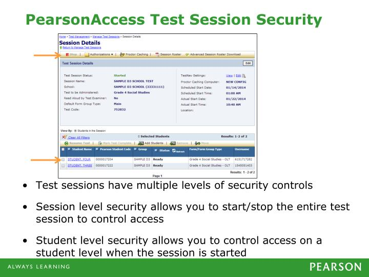 PearsonAccess Test Session Security