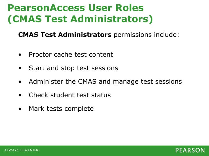 PearsonAccess User Roles
