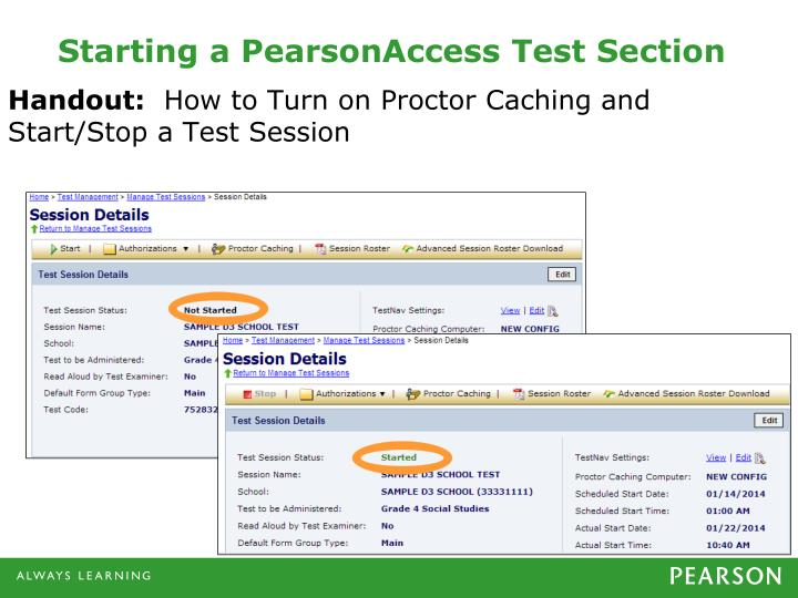 Starting a PearsonAccess Test Section