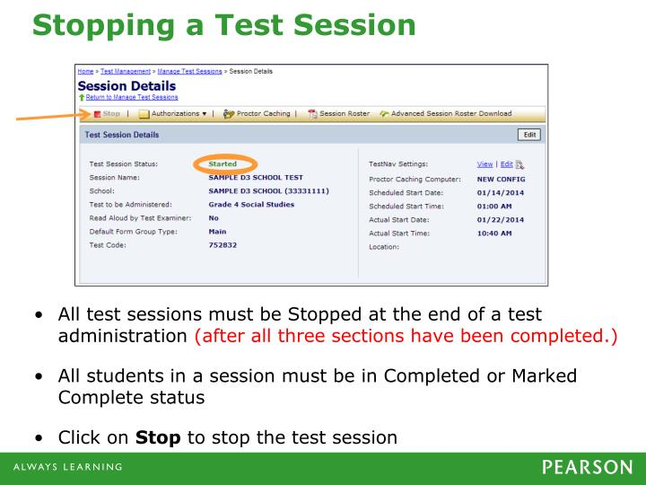 Stopping a Test Session