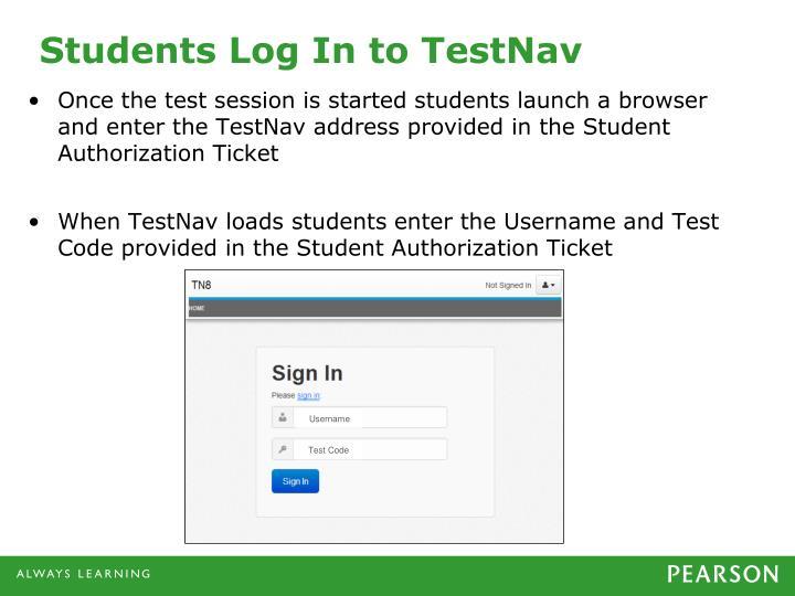Students Log In to TestNav