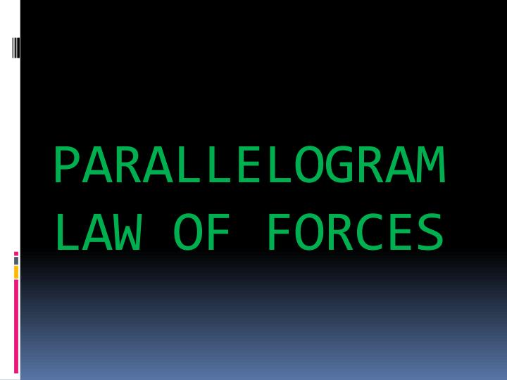 PARALLELOGRAM LAW OF FORCES
