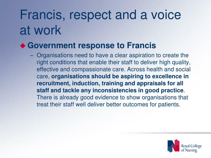 Francis, respect and a voice at work